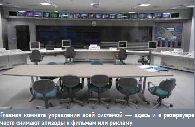 Главная комната управления всей системой — здесь и в резервуаре часто снимают эпизоды к фильмам или рекламу